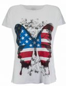 Brody & Co. Womens USA Flag Butterfly T-Shirts